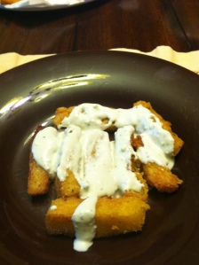 Polenta Fries Slathered in Blue Cheese