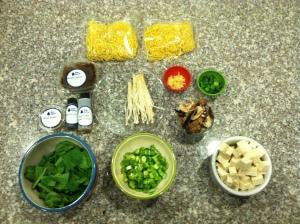 All the ingredients ready to go.