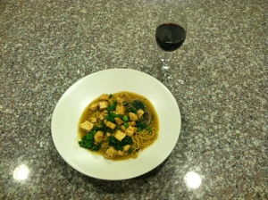 Final version of the ramen (you have to bring your own wine!)